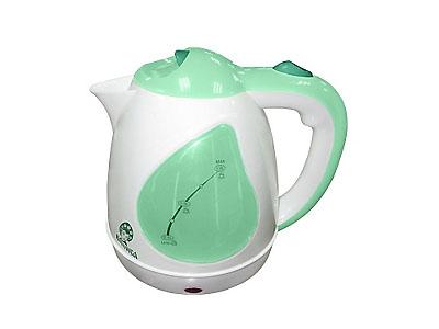 Чайник Василиса Т1-1500 (1500Вт, 1,5л, диск) белый с зеленым