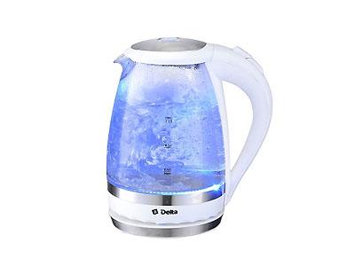 Чайник DELTA DL-1202 (2200Вт, 1,5л, диск)   стеклянный белый