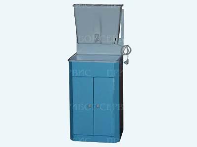 """Умывальник с водонагревателем """"ЭлБЭТ-22"""" пластмассовая мойка, бело-голубой, распашные дверцы"""