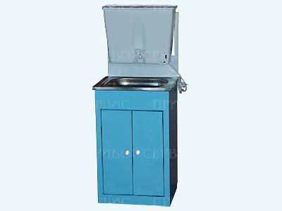 """Умывальник с водонагревателем """"ЭлБЭТ-22"""" нержавеющая мойка, бело-голубой, распашные дверцы"""