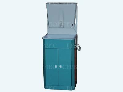 """Умывальник с водонагревателем """"ЭлБЭТ-17"""" пластмассовая мойка, бирюза, распашные дверцы"""