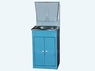 """Умывальник с рукомойником """"ЭлБЭТ-17"""" нержавеющая мойка, бело-голубой, распашные дверцы"""